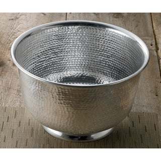 15-inch Hammered Round Aluminum Punch Bowl