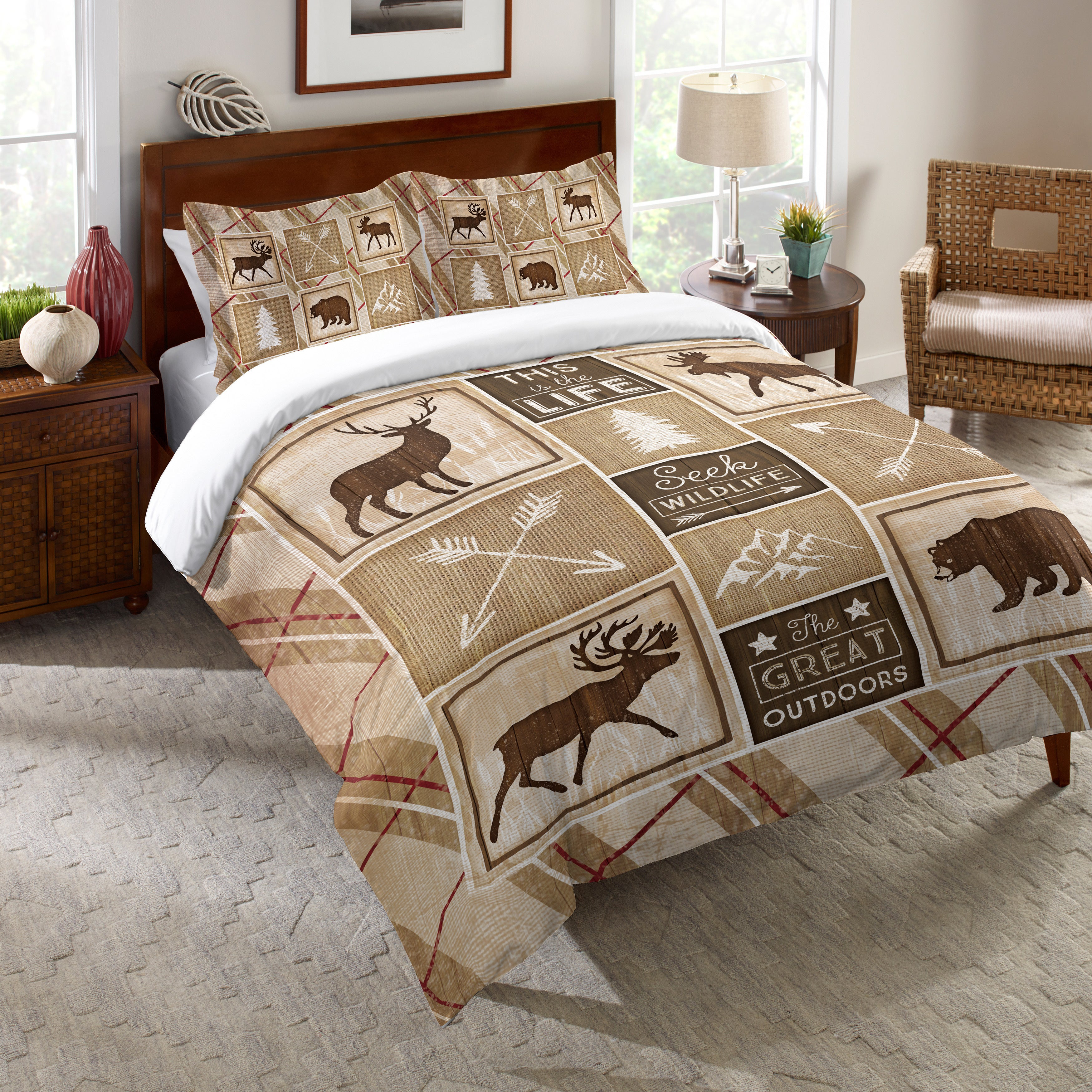 King Full Queen Or Twin Bear Lodge Deer Elk Rustic Cabin Comforter Bedding Set Home Garden Comforters Bedding Sets