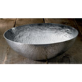 Large 20-inch Round Hammered Aluminum Decorative Bowl
