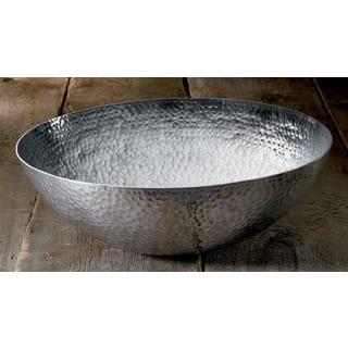 Large 20-inch Round Hammered Aluminum Decorative Bowl