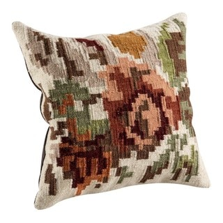 M.A.Trading Hand-woven Indo Karba2 Cream Pillow (18-inch x 18-inch)