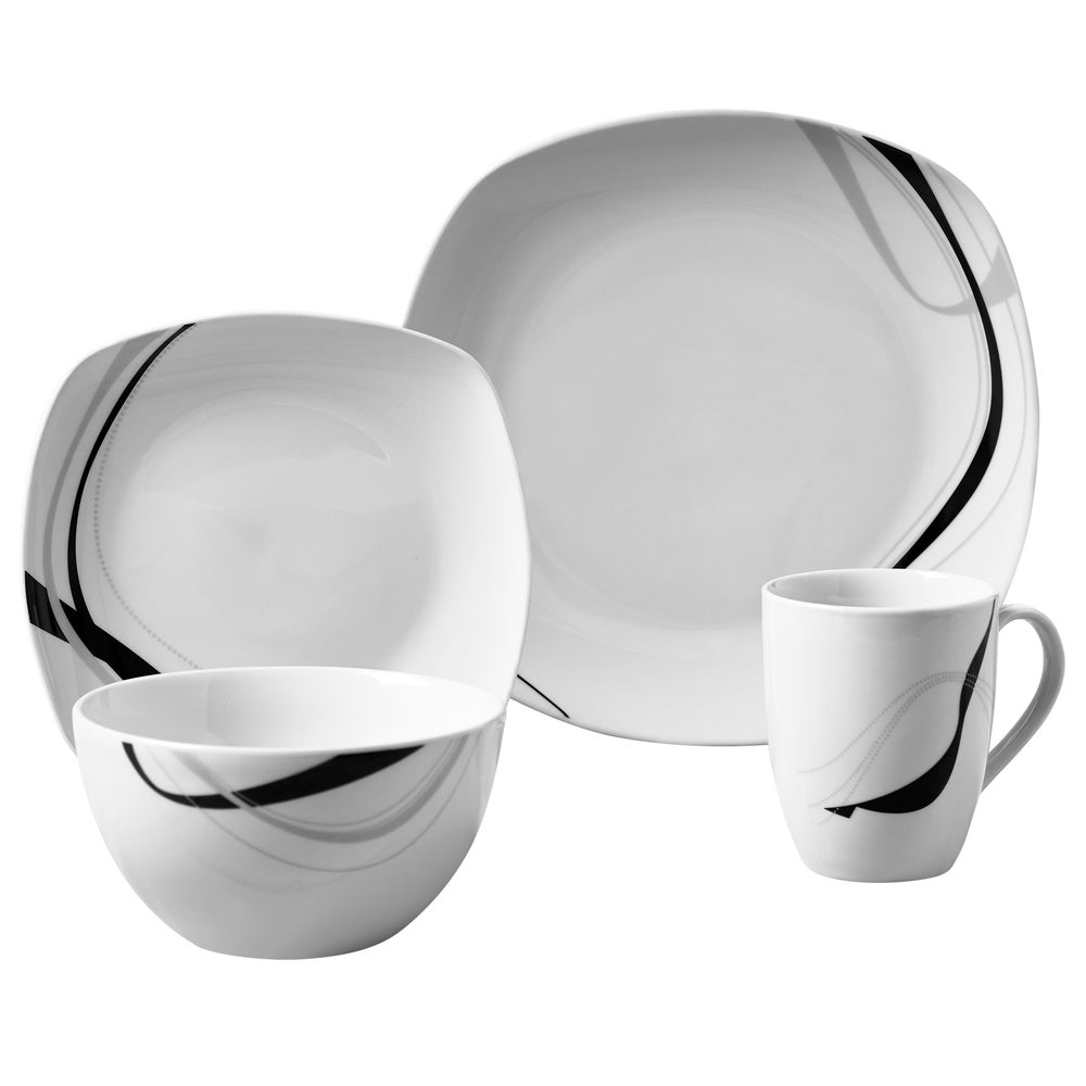 16-32 Piece Dinner Service Sets Modern traditional Square Plates Bowls Mugs