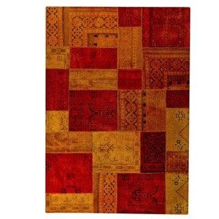 Hand-knotted Indo Renaissance Red/ Orange Rug (5'2 x 7'6)