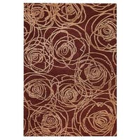 Handmade M.A.Trading Indo Rosa Red Rug (7'10 x 9'10) (India)