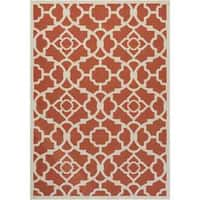 Waverly Sun N' Shade Lovely Lattice Sienna Indoor/ Outdoor Rug by Nourison - 5'3 x 7'5