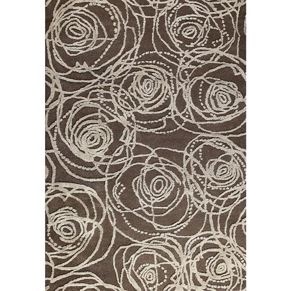 Handmade M.A.Trading Indo Rosa Grey Rug (7'10 x 9'10) (India)