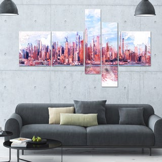 DesignArt 'Ink Bay' Multi-panel Cityscape Wall Art