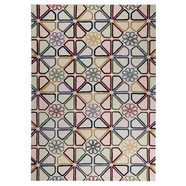 M.A.Trading Hand-Tufted Indo Continuu White/ Multi Rug (7'10 x 9'10)