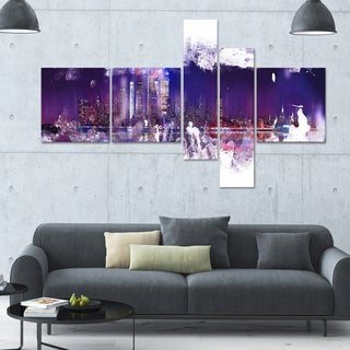 DesignArt 'Abstract Purple' Multi-panel Cityscape Wall Art