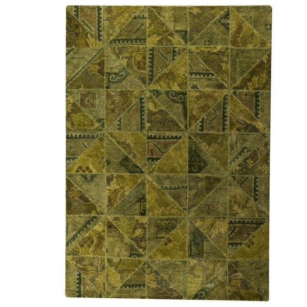 Handmade Indo Tile Green Rug - 7'10 x 9'10 (India)