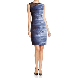 T Tahari Willow Dress with Abstract Black/ Blue/ White Pattern