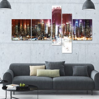 DesignArt 'Nightlife' Multi-panel Cityscape Wall Art