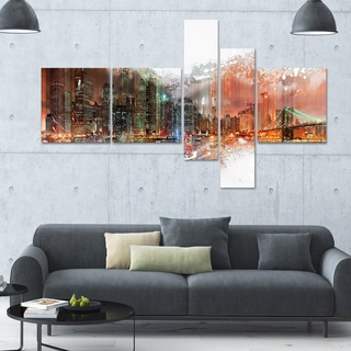 DesignArt 'Abstract Night' Multi-panel Cityscape Wall Art