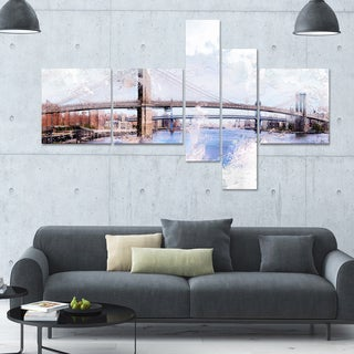 DesignArt 'Bridge' Multi-panel Cityscape Wall Art