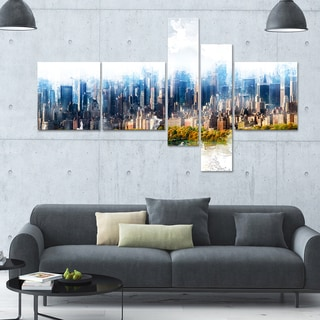 DesignArt 'Abstract Blue' Multi-panel Cityscape Wall Art