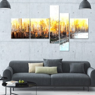 DesignArt 'Abstract Sunset' Multi-panel Cityscape Wall Art