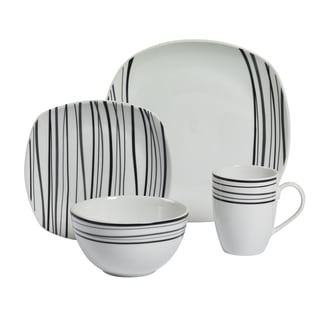 Justin 16pc Soft Square Porcelain Dinnerware Set