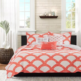 Madison Park Negril Coral Quilted Coverlet Set