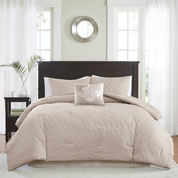 Madison Park Mansfield Quilted Khaki Comforter Set