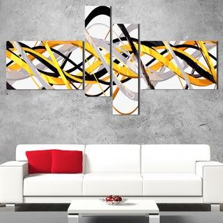 DesignArt 'Grey and Gold Waves' Contemporary Wall Art