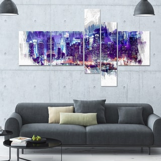 DesignArt 'Midnight' Multi-panel Cityscape Canvas Art