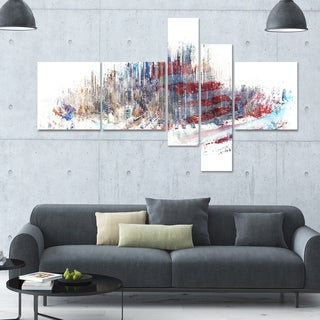 DesignArt 'Red White and Blue' Multi-panel Cityscape Canvas Art