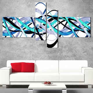 DesignArt 'Blue and Silver Waves' Contemporary Wall Art