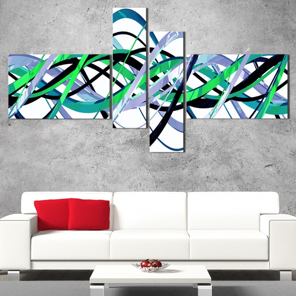 DesignArt 'Green and Silver Waves' Contemporary Wall Art