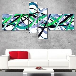 DesignArt 'Green and Silver Waves' Contemporary Wall Art