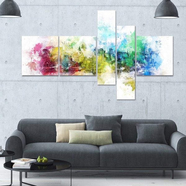 DesignArt 'Vivid Colors' Multi-panel Cityscape Canvas Art