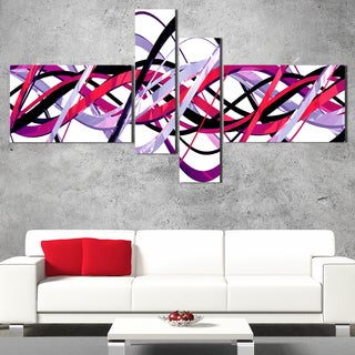 DesignArt 'Purple and Pink Waves' Contemporary Wall Art