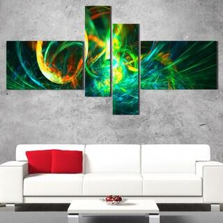 DesignArt 'Fire Green' Large Abstract Wall Art