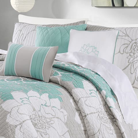 Madison Park Brianna Aqua Quilted Cotton Coverlet Set