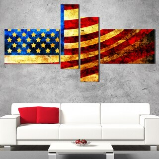 DesignArt 'God Bless America Flag' Large Modern Canvas Art