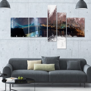 DesignArt 'Bridge to the City' Multi-panel Cityscape Wall Art