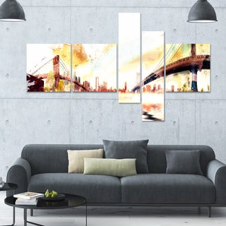 DesignArt 'Golden Bridges' Multi-panel Cityscape Canvas Art
