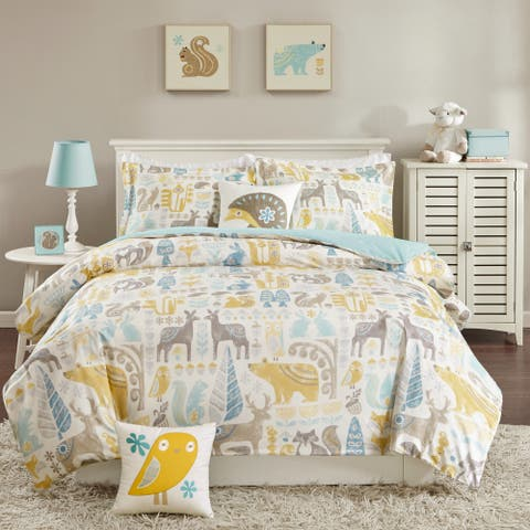Taylor & Olive Bricky Woodland Aqua Cotton Comforter Set