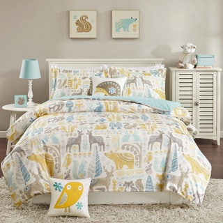INK+IVY Kids Woodland Aqua Cotton Comforter Set
