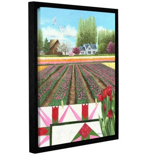 Julie Peterson's 'Tulip Quilt' Gallery Wrapped Floater-framed Canvas