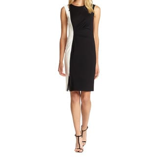 Elie Tahari Amelia Black and White Colorblock Ruched Dress