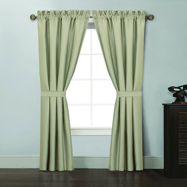 Shop Kyle 84-Inch Green Curtain Panel With Tie Backs (Pair