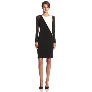 Elie Tahari Scarlette Colorblock Black and White Crepe Dress (Size 6)