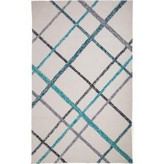 M.A.Trading Hand-Tufted Chinese Lienzo Ivory/ Turquoise Rug (2 x 3')