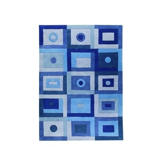 Hand-Tufted Indo Berlin Blue Rug (4'6 x 6'6)