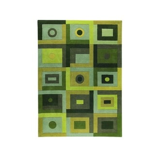 M.A.Trading Hand-Tufted Indo Berlin Green Rug (4'6 x 6'6)
