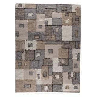 Hand-woven Indo Khema8 Grey Rug (4'6 x 6'6)