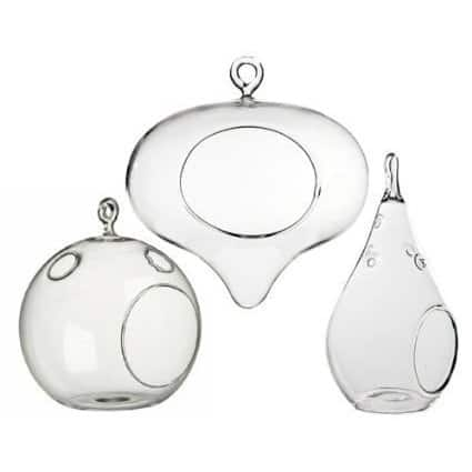 3 Pack Decorative Clear Hanging Votive Candle Holder / Glass Heart, Orb and Tear Shaped Terrarium Va