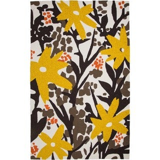M.A.Trading Hand-Tufted Chinese Bloom Brown/ Gold Rug (2 x 3')