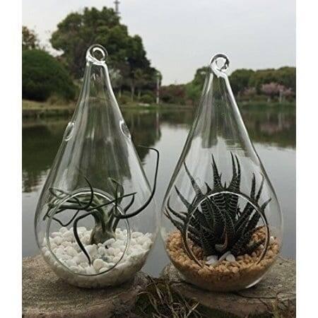 3 Decorative Clear Hanging Votive Candle Holder / Glass Tear Shaped Terrarium Vase, 4.5 X 4.5 Inch (