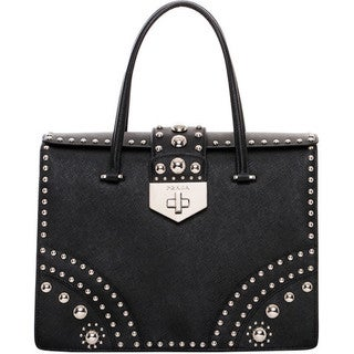 Prada Studded Saffiano Flap Bag